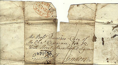 1798 Wrapper to London with Unpaid Wapping Handstamp