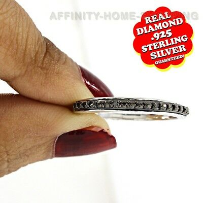 Sterling Silver Round Cut Black Genuine Diamond Accent Half Eternity Band Ring