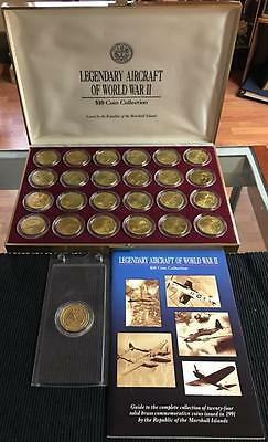 The Legendary AirCraft of WW II $10 Coin Collection In Original Box -24 Coin Set
