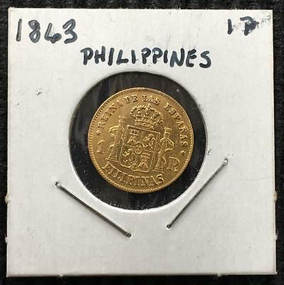 1863 Philippines 1 Peso Gold Better Grade Nice Detail on Reverse