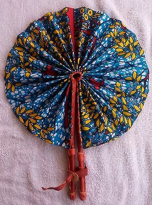 African Fabric Hand Folding Fan  / Leather Handle  Free  Shipping