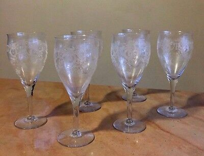 7 Antique Victorian Clear Etched Elegant CHAMPAGNE WINE STEMS Drinking Glasses