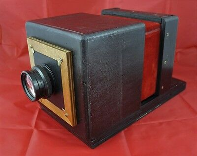 WET PLATE WOODEN CAMERA 4x5 inc +2CHASSIS+LENS COLLODION LARGE FORMAT brass wood