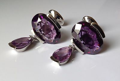 Beautiful Ladies Rhodium Plated Cufflinks With Large Faceted Amethyst