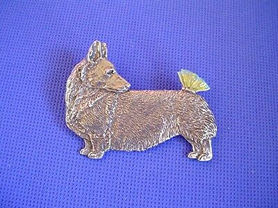 Pembroke Welsh Corgi Butterfly Pin #56B pewter dog jewelry by Cindy A. Conter