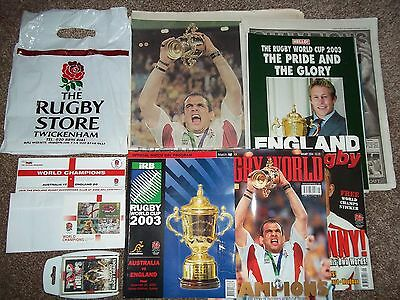 Rugby world cup 2003 England final program,stamps,top trumps,sticker,mags etc