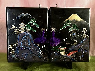 Vintage Ooak Japanese Lacquer Jewelry Music Box: Two Dancing Couples