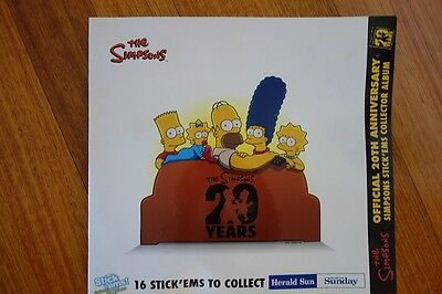 The Simpsons 16 Stick'ems From Herald Sun Folder With 9 Characters Collected