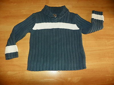 Tea Boys Girls Size 5 Pima Cotton Cowl Neck Pullover Blue White Long Sleeve