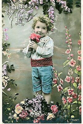 Old French Postcard: Young Boy Surrounded By Flowers