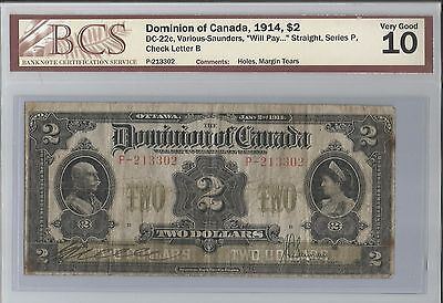 "1914 Dominion of Canada $2 ""Will Pay"" Straight, Series P"