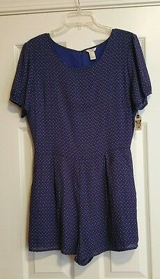 Forever 21 Women's Jumpsuit Navy Blue summer romper shorts size large**NWT**
