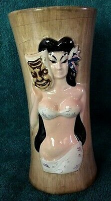 Vintage Hawaii Kai Otagiri Hand Painted Hula Girl W/ Tiki Mask Ceramic Bar Glass