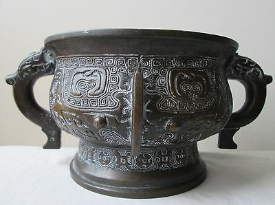 ANTIQUE 17th Century CHINESE Ming Dynasty LARGE Heavy Bronze censer TAOTIE Masks