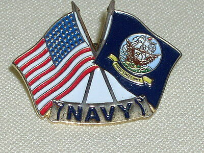Super Nice Enameled Navy Double Flag Pin