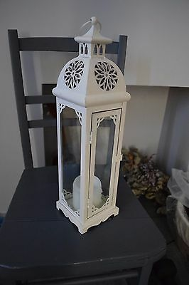 Beautiful Tall Cream Candle Lantern Holder for Weddings or Occasions - Used