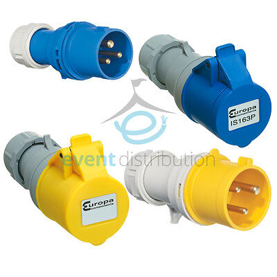 16A AMP 240V 110V 3 Pin Industrial Plugs Sockets Couplers IP44 Site Connectors