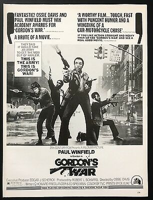 1973 Vintage Print Ad 1970s GORDON'S WAR Paul Winfield Movie Release Advert