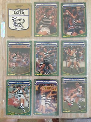 1985 Geelong Cats Scanlens Team Set cards with checklist