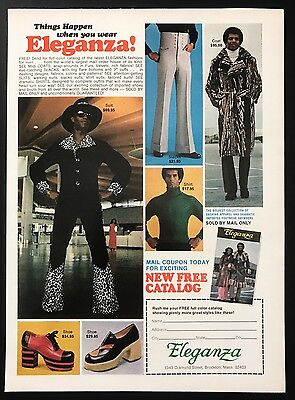 1973 Vintage Print Ad ELEGANZA Men Fashion Leopard Print High Heel 1970s Slacks