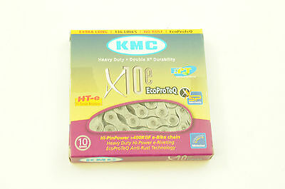 """Kmc X10E Ept 10 Speed Ecoproteq Heavy Duty Chain 1/2"""" X 11/128"""" 136 Link Silver"""