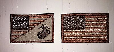 Tactical American Flag Patch & Marine Corps/usmc Patch Tactical Desert Tan New