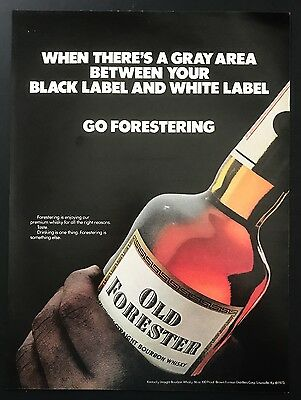 1973 Vintage Print Ad 1970s OLD FORESTER Bourbon Whiskey Bottle Picture Image