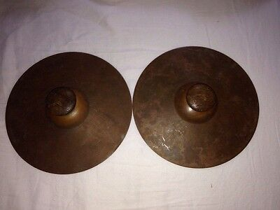 Brass Musical Cymbals Wood Handle Very Old