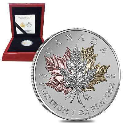 2016 1 oz Platinum Canadian Maple Leaf Forever $300 Proof Coin (w/Box & COA)
