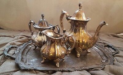 Lancaster Rose by Poole Silverplated Tea Set 400 with footed tray antique