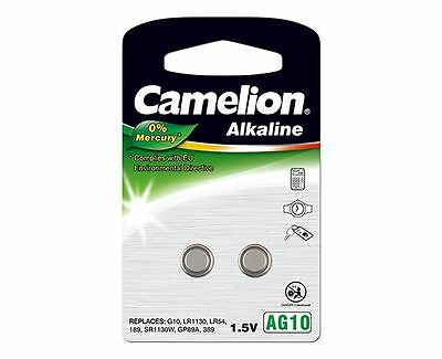 Camelion AG10 LR1130 LR54 189 Alkaline Battery Button-Cell 1.5v Pack of 2
