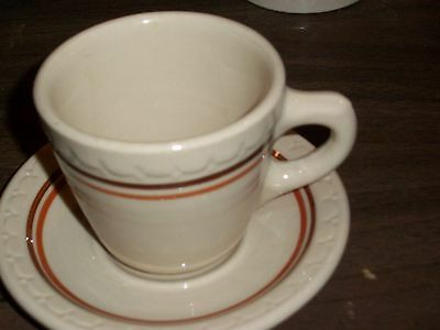 SYRACUSE CHINA ECONO-RIM Antique Coffee/Tea CUP & SAUCER Restaurant-Ware SIGNED