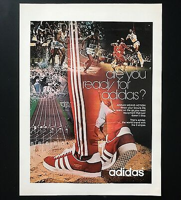 1973 Vintage Print Ad 1970s Adidas Shoes Foot Fashion Sportswear Basketball