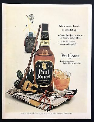 1953 Vintage Print Ad 1950s PAUL JONES Whiskey Guitar Drink
