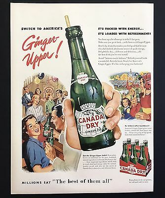 1952 Vintage Print Ad 1950s CANADA DRY Ginger Ale Illustration Party