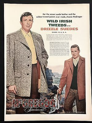 1953 Vintage Print Ad 1950s MCGREGOR SPORTSWEAR Men's Fashion Style Illustration