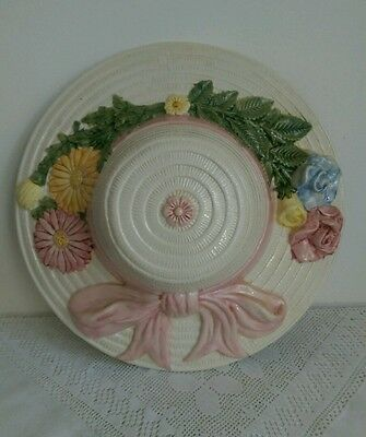 Large Vintage Cappidimonte Style Pottery Floral Wall Hanging Hat