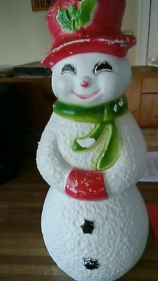"""22"""" VTG Snowman Red Hat & Muff Light-Up Blow Mold Union Products Xmas Blowmold"""