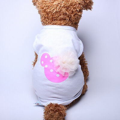 New Pet Dog Summer Clothes Mickey Flower Vest Dress Shirt Cat Puppy Size S
