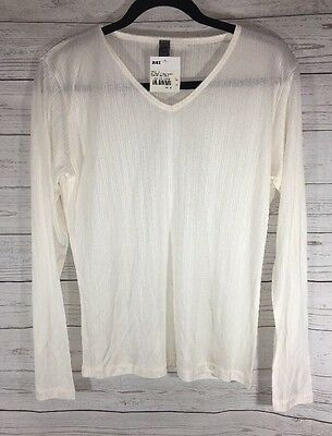 REI Women's Large Long Sleeve Shirt 100% Silk Top V Neck Ribbed Sheer NWT