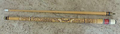 """Pool Cue 17.5 oz 57"""" Hand Carved Mother of Pearl Lucite Inlays"""