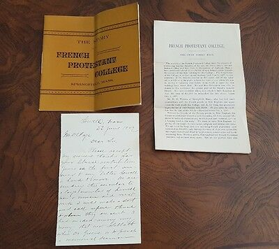The Story of the FRENCH PROTESTANT COLLEGE Springfield Mass Pamphlet 1889 LOWELL