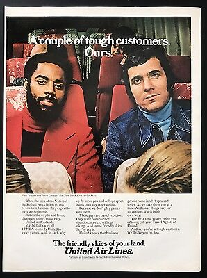 1973 Vintage Print Ad 70's  UNITED AIRLINES Walt Frazier Jerry Lucas Air Travel
