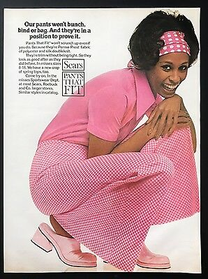 1973 Vintage Print Ad 1970s SEARS PANTS Woman's Fashion Style Pink