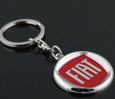 New Red Car Logo Metal Key Chain Pendant Holder Silver Chain Keyring Fiat