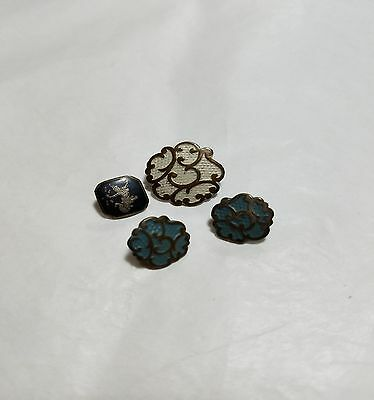 3 Antique French Victorian Cold Painted Buttons 1 Siam Sterling Beautiful