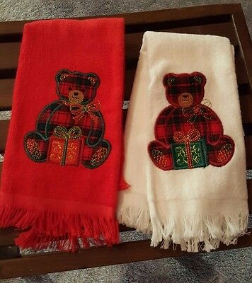 2 Holiday Bear Tea Towels Beige and Red