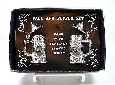 Pennsylvania Mini BEER STEIN Mugs Vintage SALT and PEPPER Shaker Set Metal