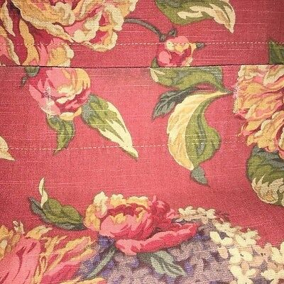 CROSCILL HTF SERENA Unlined SHOWER CURTAIN Floral RED Greens PINKS Purples