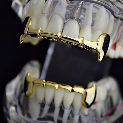 14K Gold Palted Unisex Hip Hop Half Fangs Teeth Grillz Caps Top & Bottom Grill